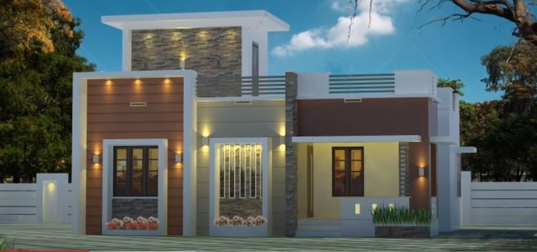 725 Sq Ft 2BHK Contemporary Modern Single Floor House and Free Plan