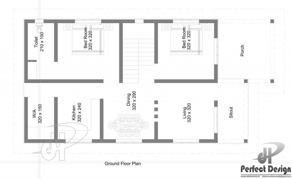 856 Sq Ft 2BHK Contemporary Style Single-Storey House and Free Plan
