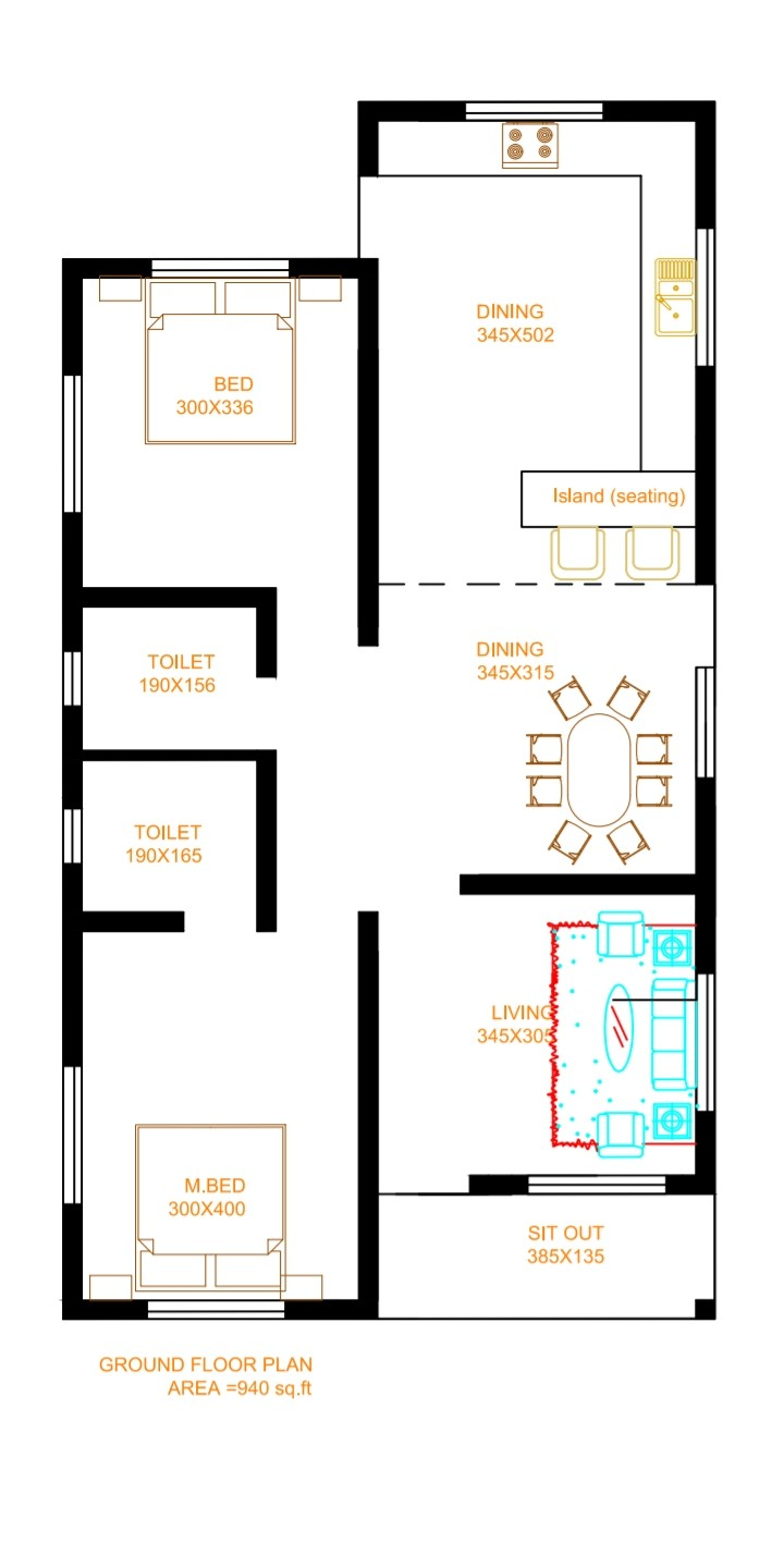 940 Sq Ft 2BHK Modern Single Floor House and Free Plan