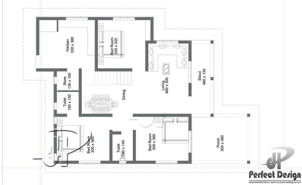 1108 Sq Ft 3BHK Contemporary Style 3BHK House and Free Plan