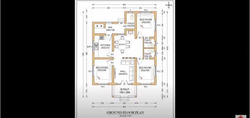 1131 Sq Ft 3BHK Traditional Style Single Floor House and Free Plan