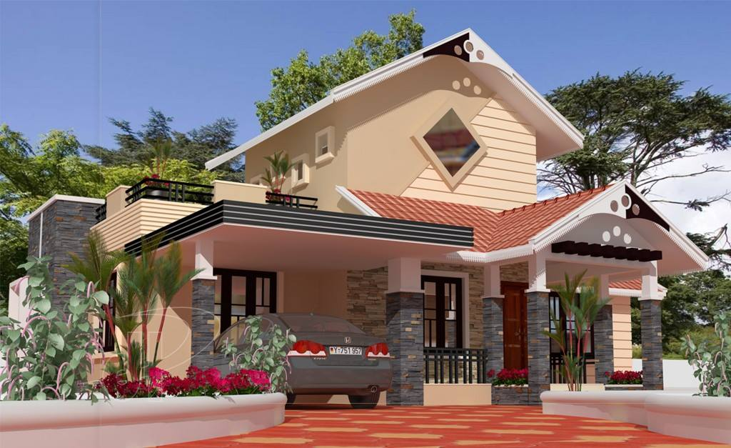 1280 Sq Ft 3BHK Traditional Mix Style Single-Storey House and Free Plan