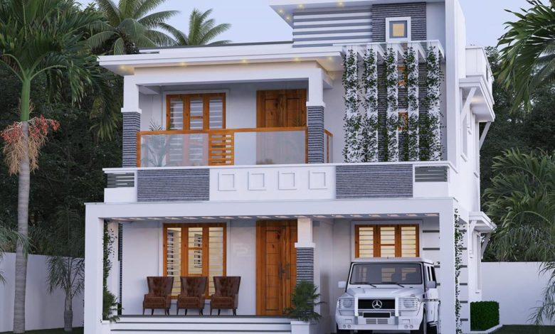 1561 Sq Ft 3BHK Contemporary Style Two-Storey House and Free Plan