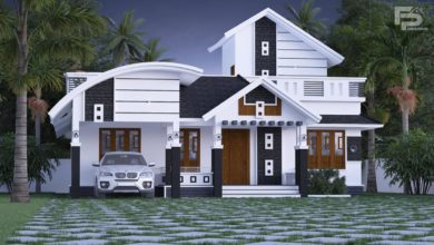 Photo of 1610 Sq Ft 2BHK Contemporary Mix Style House and Free Plan