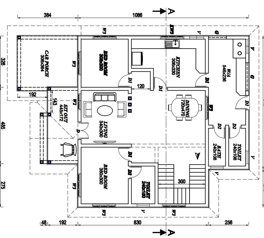 1610 Sq Ft 2BHK Contemporary Mix Style House and Free Plan
