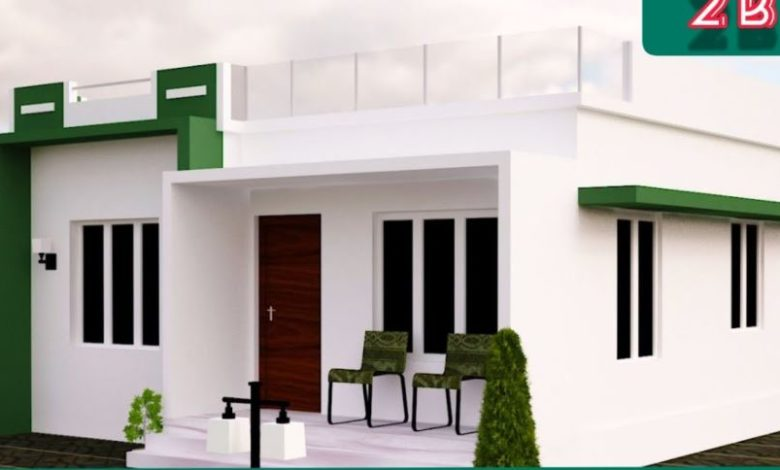 525 Sq Ft 2BHK Modern Fusion Style House and Free Plan, 7.6 Lacks