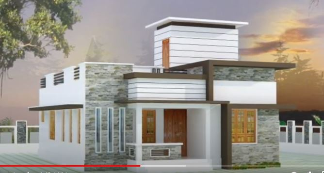 900 Sq Ft 2BHK Contemporary Style Single-Storey House and Free Plan