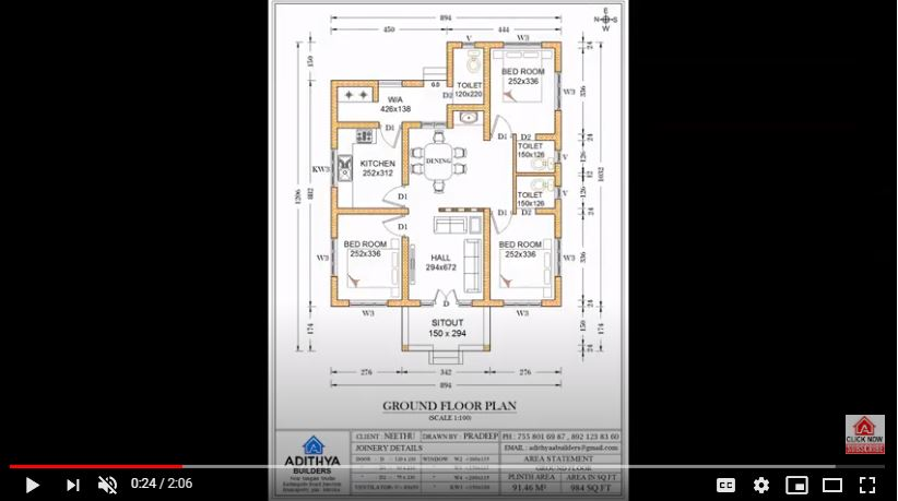 984 Sq Ft 3BHK Traditional Style Single Floor House and Free Plan
