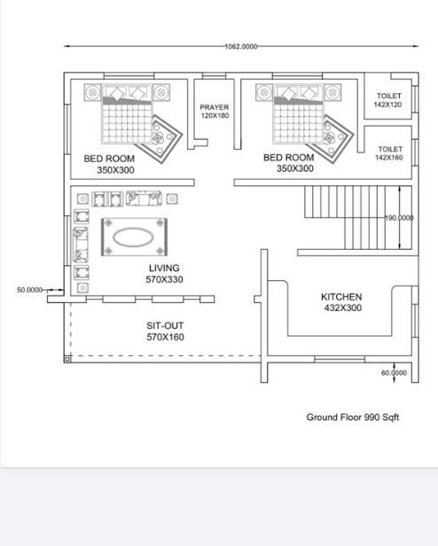 990 Sq Ft 2BHK Modern and Beautiful House and Free Plan