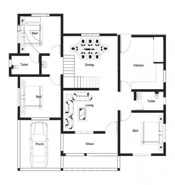 1027 Sq Ft 3BHK Modern Single Floor House and Free Plan