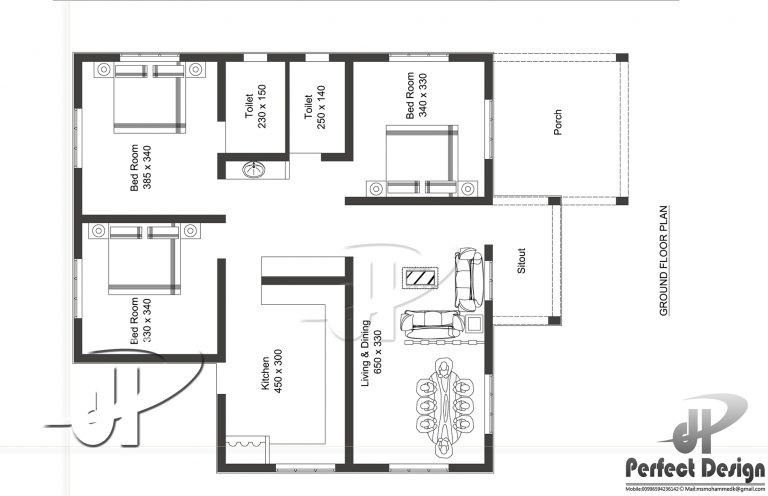 1044 Sq Ft 3BHK Modern Low Budget House and Free Plan