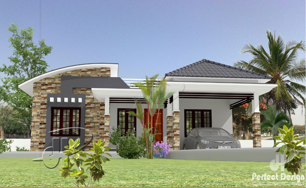 1097 Sq Ft 3BHK Contemporary Style Single Floor House and Free Plan