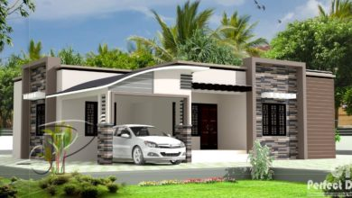 Photo of 1300 Sq Ft 3BHK Contemporary Style Single Floor House and Free Plan