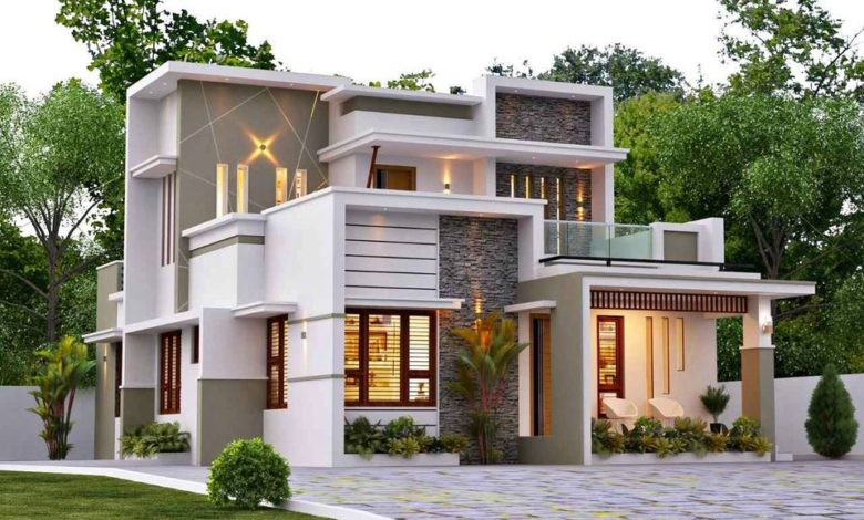 1642 Sq Ft 3BHK Contemporary Style Two-Storey House and Free Plan