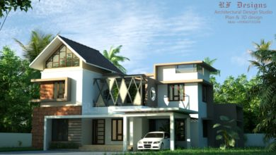 Photo of 2827 Sq Ft 5BHK Contemporary Style Two-Storey House and Free Plan