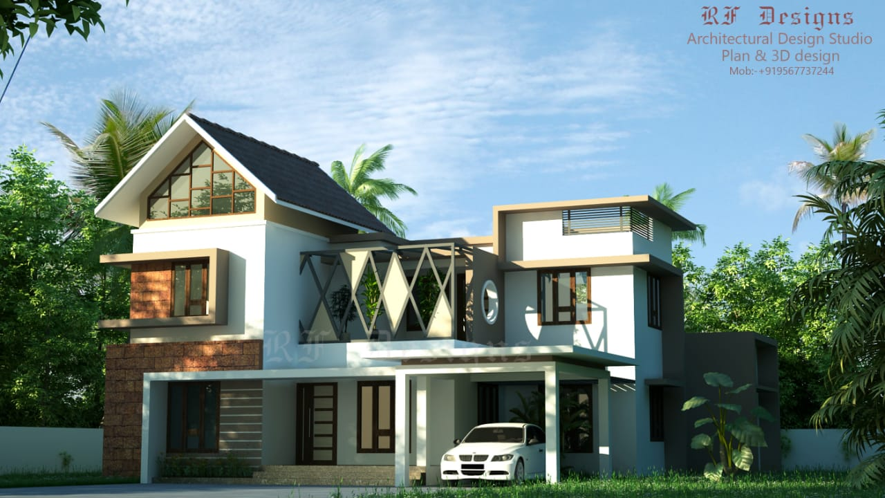 2827 Sq Ft 5BHK Contemporary Style Two-Storey House and Free Plan