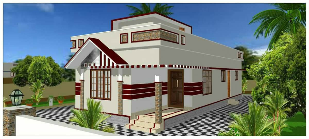 888 Sq Ft 2BHK Modern Single Floor Low Budget House and Free Plan