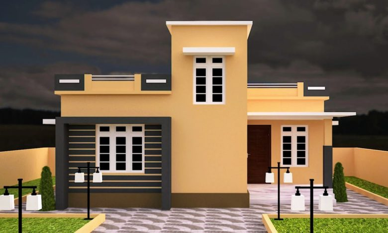 890 Sq Ft 2BHK Contemporary Style Single-Storey House and Free Plan