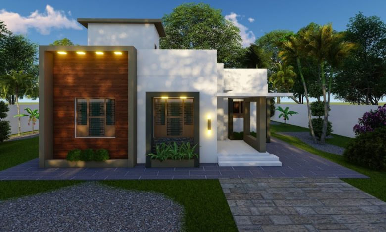 950 Sq Ft 2BHK Contemporary Style Single Floor House and Free Plan