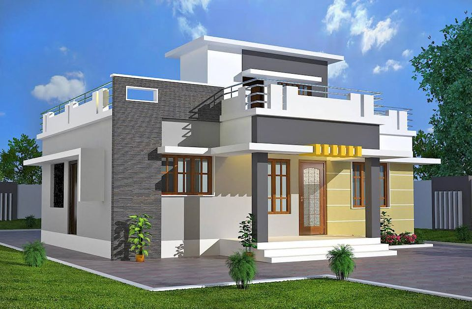 984 Sq Ft 3BHK Modern Single Floor House and Free Plan