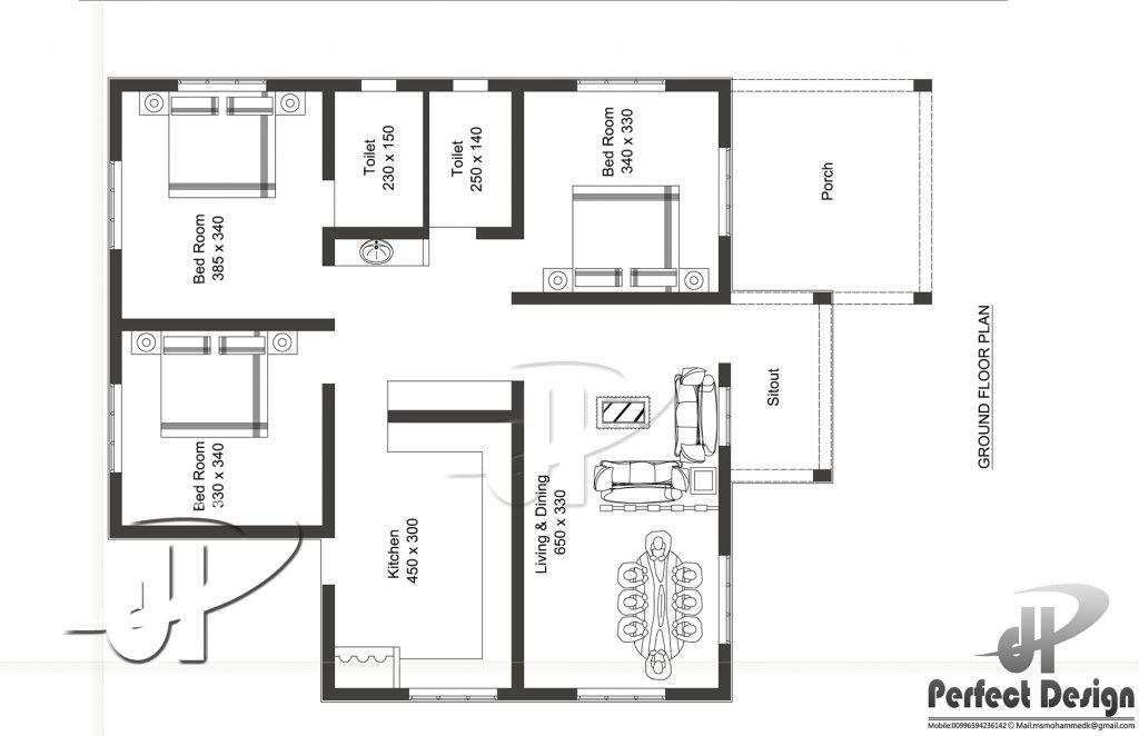 1087 Sq Ft 3BHK Traditional Style Single Floor House and Free Plan