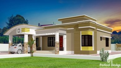 Photo of 1129 Sq Ft 3BHK Contemporary Style Single Floor House and Free Plan