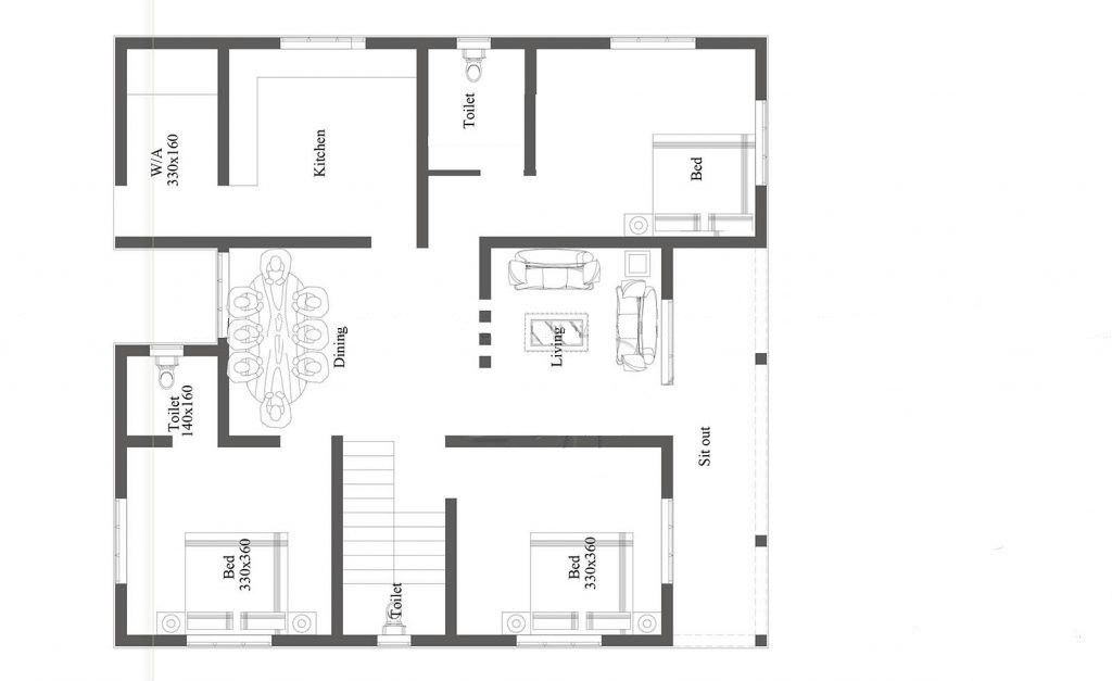 1188 Sq Ft 3BHK Traditional Style Single Floor House and Free Plan