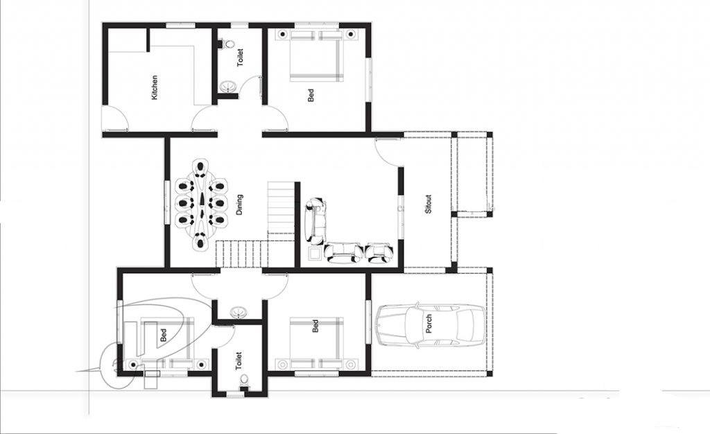 1225 Sq Ft 3BHK Traditional Style Single Floor House and Free Plan