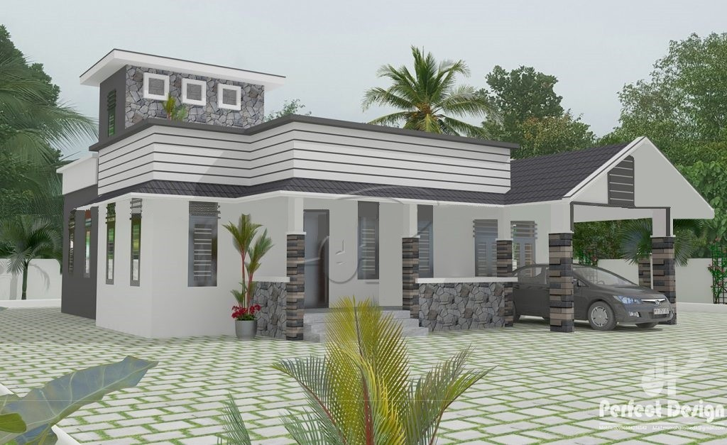 1237 Sq Ft Traditional-Contemporary Style Single Floor House and Free Plan