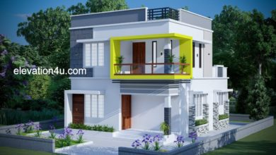 Photo of 1258 Sq Ft 3BHK Contemporary Style Two-Storey House and Free Plan