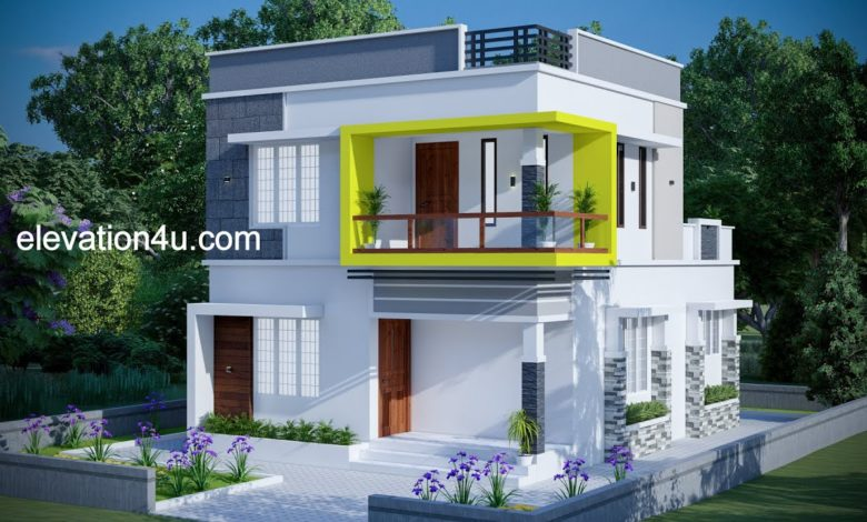 1258 Sq Ft 3BHK Contemporary Style Two-Storey House and Free Plan