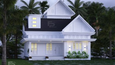 Photo of 1329 Sq Ft 2BHK Colonial Style Single-Storey House and Free Plan