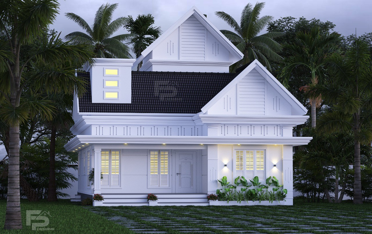 1329 Sq Ft 2BHK Colonial Style Single-Storey House and Free Plan
