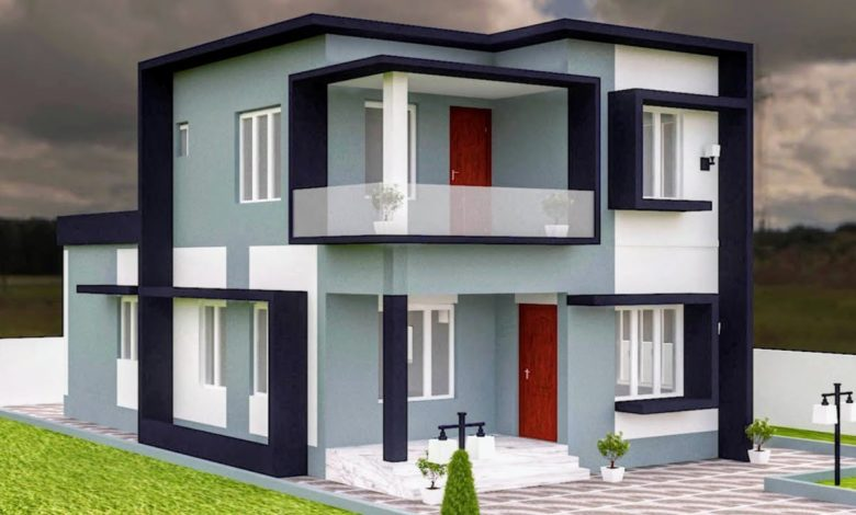 1353 Sq Ft 3BHK Contemporary Style Two-Storey House and Free Plan