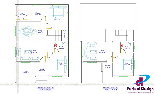 1550 Sq Ft 3BHK Contemporary Style Two-Storey House and Free Plan