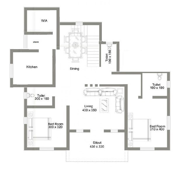 832 Sq Ft 2BHK Modern Single Floor House and Free Plan, 13 Lacks