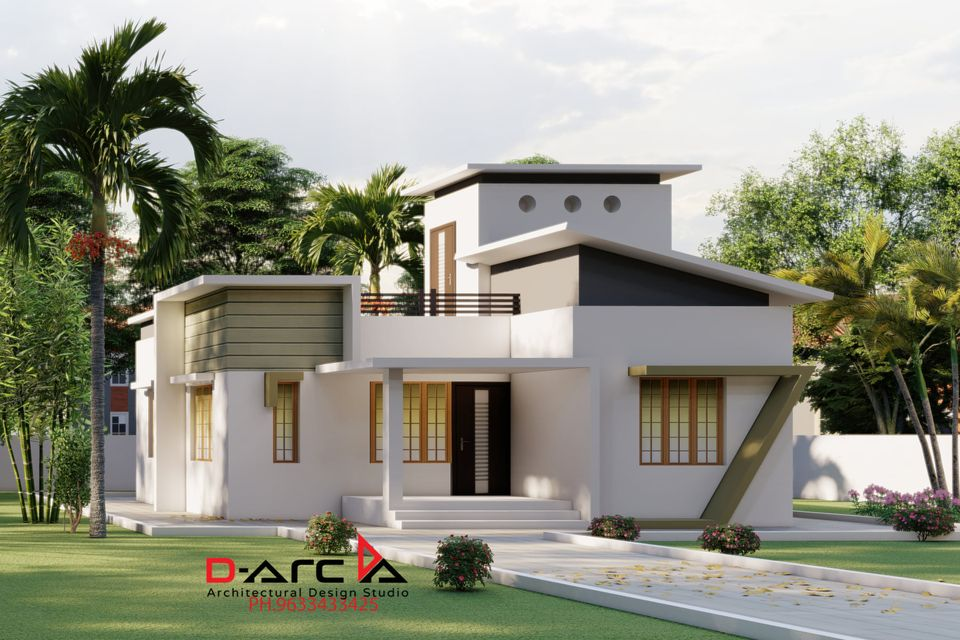 835 Sq Ft 2BHK Contemporary Style House and Free Plan, 15 Lacks