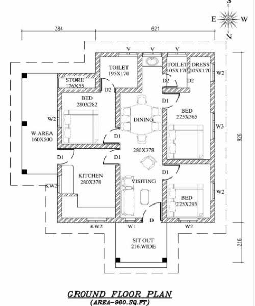 960 Sq Ft 3BHK Modern Single-Storey House and Free Plan, 15 Lacks