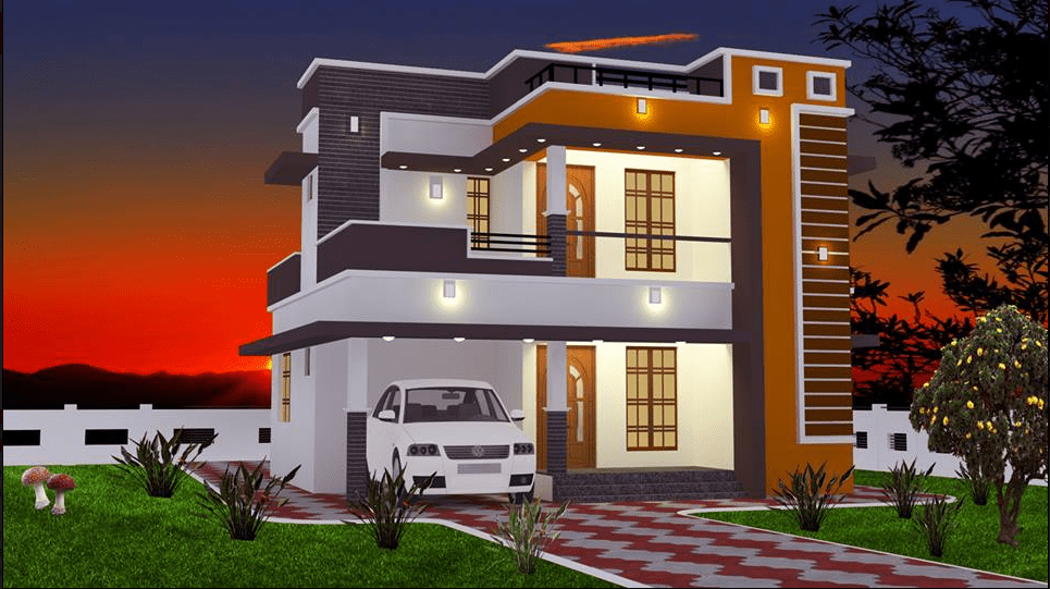 965 Sq Ft 2BHK Contemporary Style Double Floor House and Free Plan