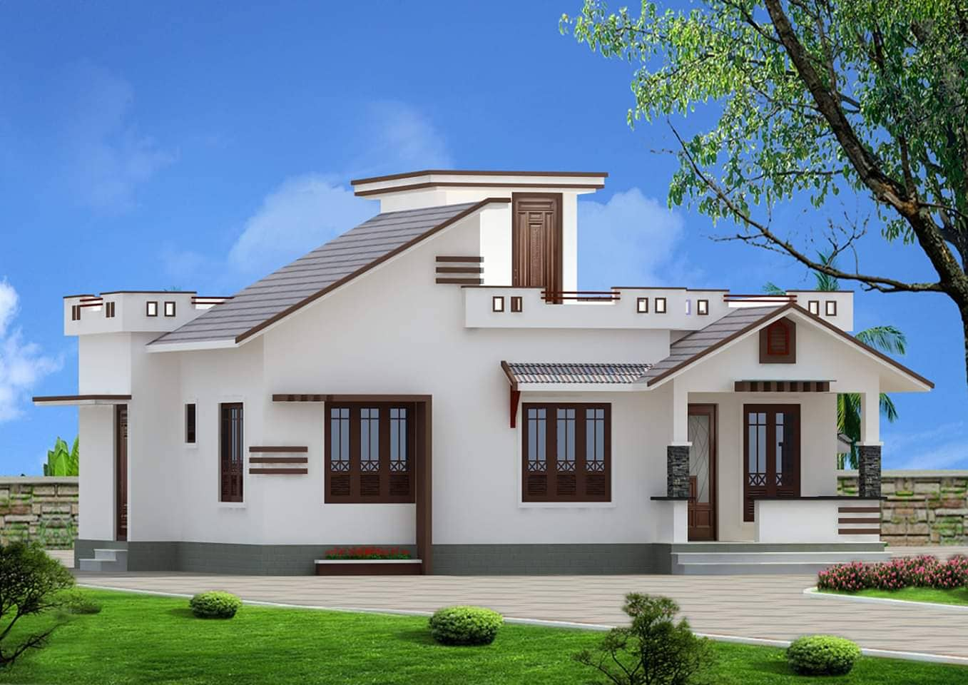 968 Sq Ft 2BHK Cotemporary Style Single Floor House and Free Plan