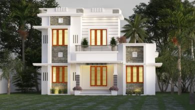 Photo of 1259 Sq Ft 3BHK Contemporary Style Two-Storey House and Free Plan