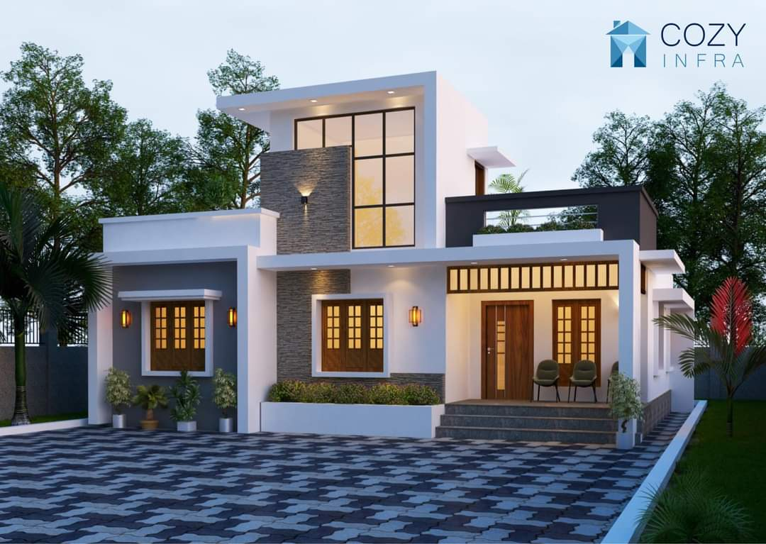 1284 Sq Ft 2BHK Contemporary Style Single-Storey House and Free Plan