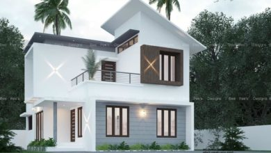 Photo of 1302 Sq Ft 3BHK Contemporary Style Two-Storey House and Free Plan