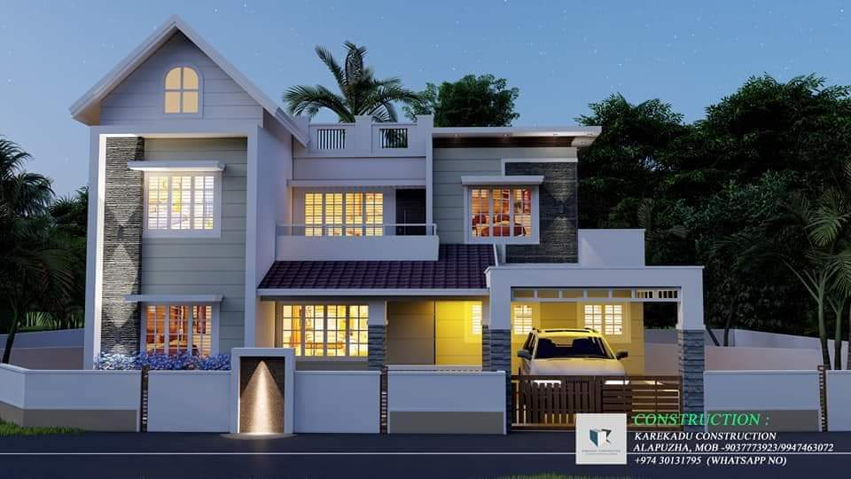 1485 Sq Ft 3BHK Contemporary Style Two-Storey House and Free Plan