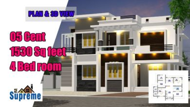 Photo of 1530 Sq Ft 4BHK Contemporary Style Two-Storey House and Free Plan, 25 Lacks