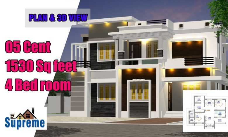 1530 Sq Ft 4BHK Contemporary Style Two-Storey House and Free Plan, 25 Lacks