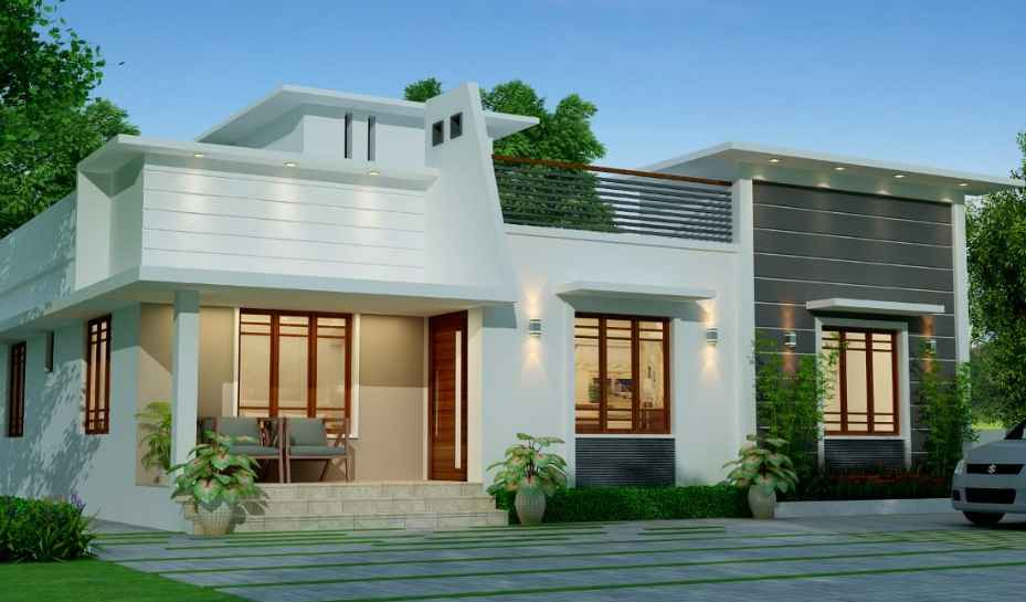 1555 Sq Ft 3BHK Contemporary Style Single Floor House and Free Plan