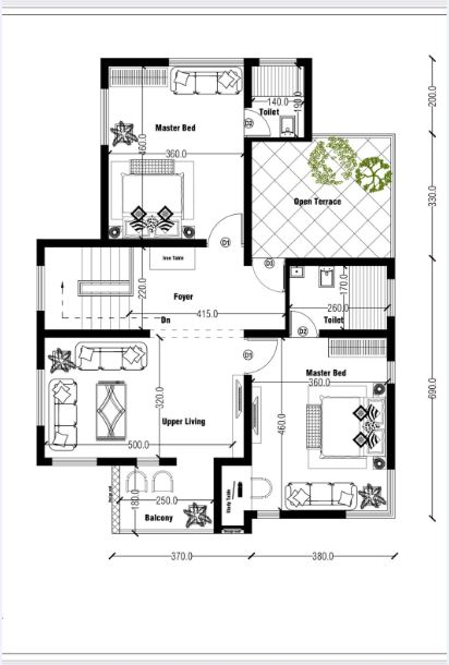 1710 Sq Ft 4BHK Contemporary Style Two-Storey House and Free Plan