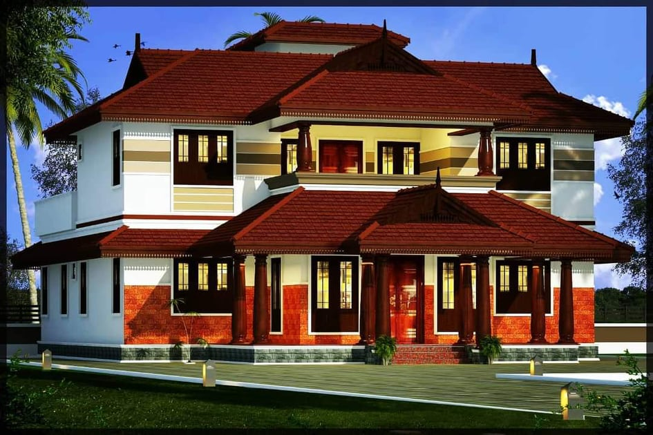 2156 Sq Ft 4BHK Traditional Style Two-Storey House and Free Plan