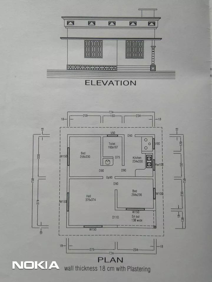 520 Sq Ft 2BHK Modern Style Single Floor House and Free Plan